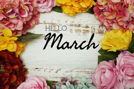 Hello March text and Flowers Colorful Border Frame on wooden background