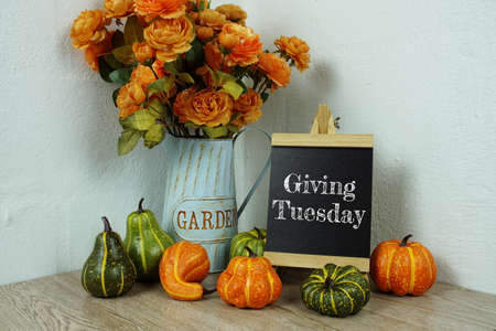 Giving Tuesday typography text with pumpkin decoration on wooden table