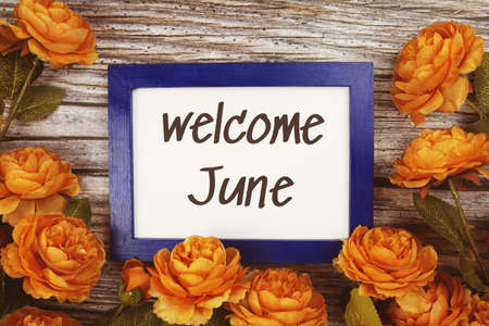 Welcome June text in blue border frame with flower decoration on wooden background