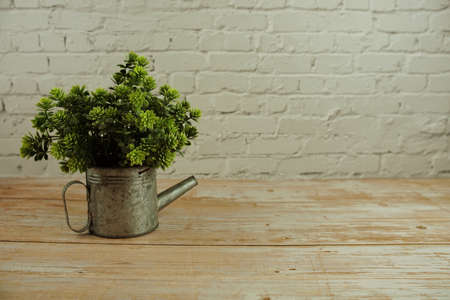 Green artificial plant with space copy on white brick wall background