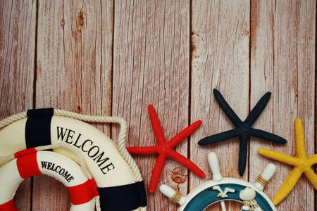 Marine Items nautical Decoration with space copy on wooden background