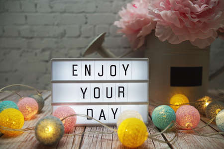 Enjoy Your Day text on lightbox on wooden background 写真素材
