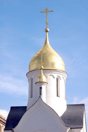 novosibirsk: Dome of a chapel located in Novosibirsk on the Red prospectus Stock Photo