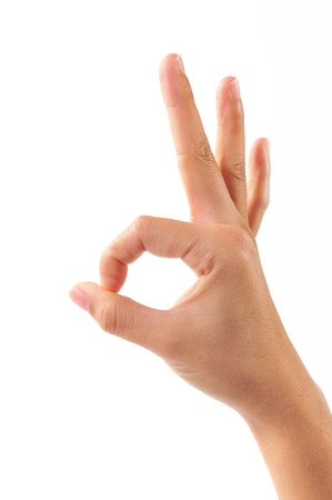 Ok. Gesture of the hand on white background Stock Photo