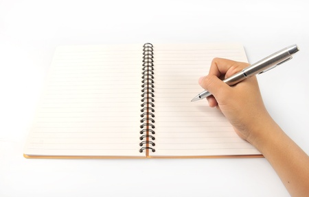 organizer page: Notebook in hand. Pen in hand. Isolated on white background Stock Photo