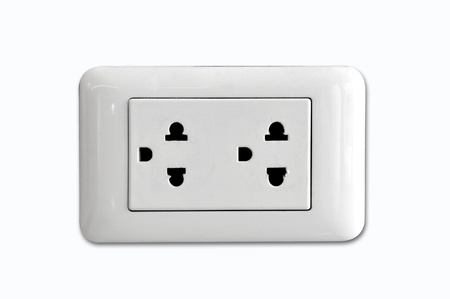 Double electrical power socket and single plug switched on, white background. Stock Photo - 10768834