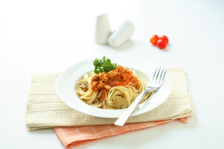 Spaghetti noodles with meat sauce. photo