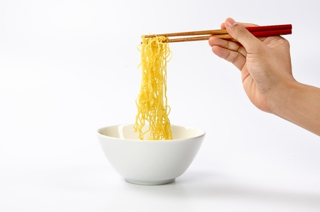 noodle bowl: Noodles in bowl. Stock Photo