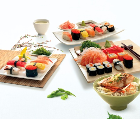 A collection of sushi Banco de Imagens