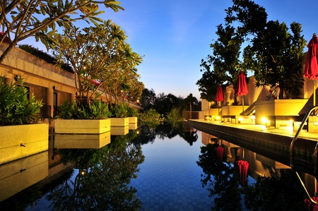 hotel indonesia: long swimming pool on spa resort Stock Photo