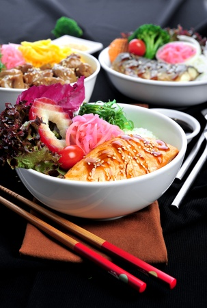 Rice with salmon. Stock Photo