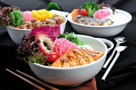 mouthwatering: Rice with salmon. Stock Photo