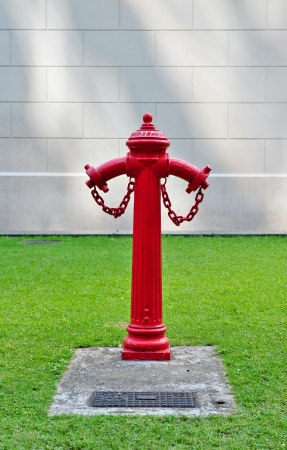 Bright red fire hydrant photo