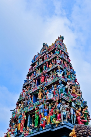 mariamman: Closeup panorama of Sri Mariamman Hindu Temple roof in Singapore