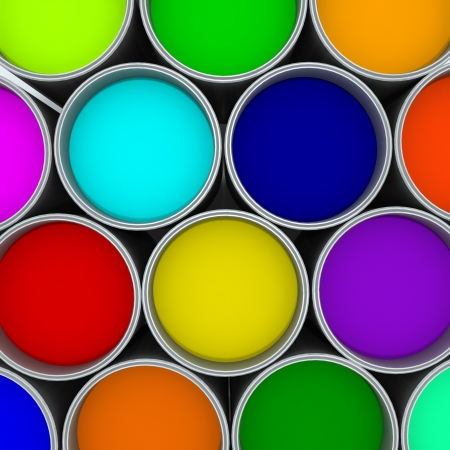primary colours: Colorful Paint Cans  Stock Photo