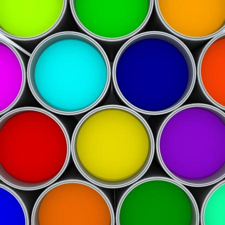 pintor de casas: Latas de pintura de colores Foto de archivo