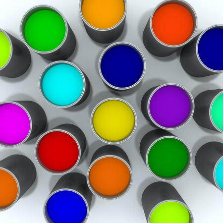 Colorful Paint Cans Stock Photo - 15141919