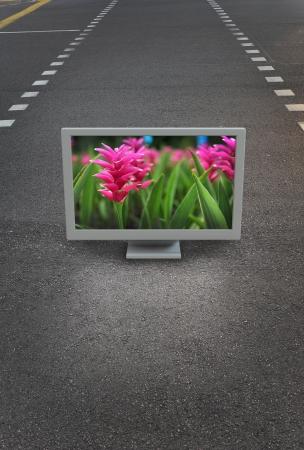 Flat TV placed on urban street Stock Photo - 15245174