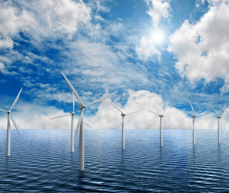 white wind turbine generating electricity on sea  Stock Photo - 15245232