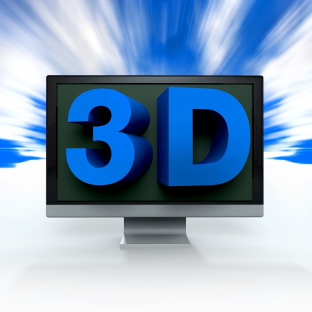 lcd: 3d tv technology concept on white background