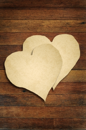 old paper with wooden heart sign  photo