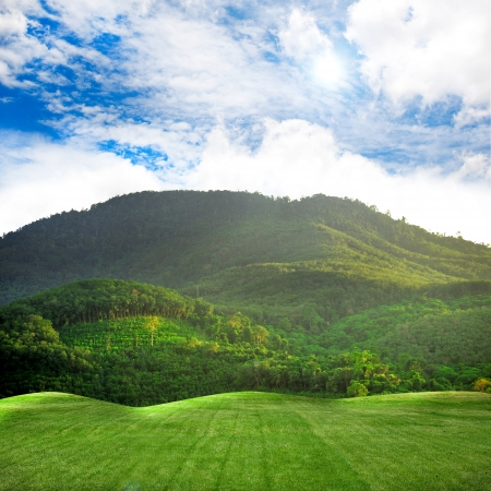 prairie: green mountain in Sky Stock Photo