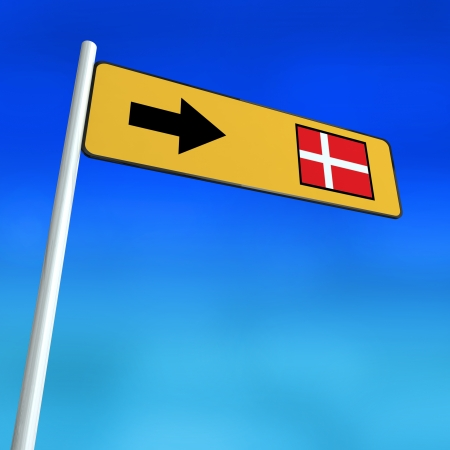 denmark: Sign Pointing in direction of the Denmark