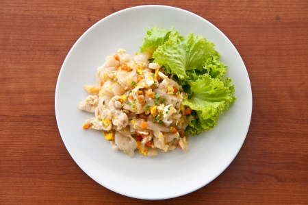 chicken noodle: Stir Fried Rice Noodle with Chicken Stock Photo