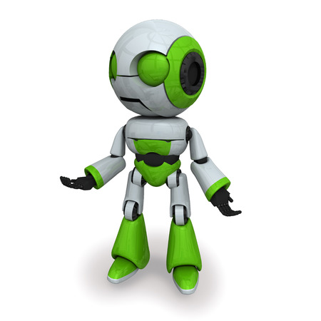 controll: Illustration of a green robot on a white backgroun