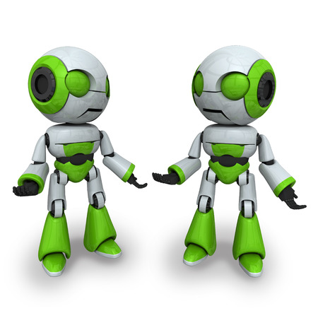 mechanical energy: Two robots are standing together on a white background