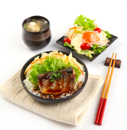 japanese foods: Japanese food style , Saba fish grilled set with rice,soup and salad Stock Photo
