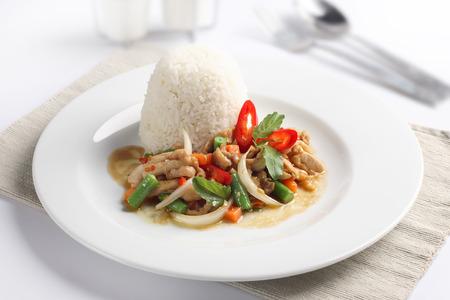 stir fried: Thai spicy food, stir fried chicken whit basil on rice