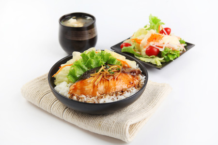 Salmon with Rice ,salad and soup photo