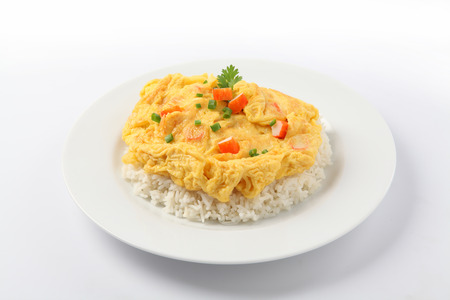 omelet: fried omelet topped on rice