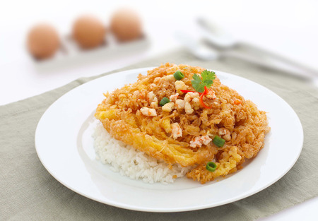topped: fried omelet topped on rice