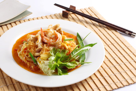 Suki dry fried vermicelli with cabbage and seafood photo