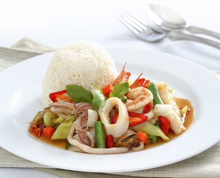 Spicy seafood with rice photo