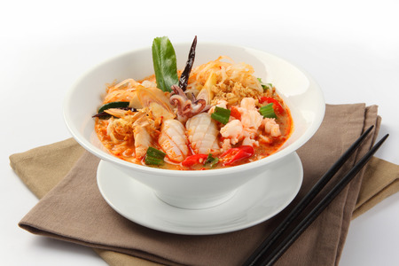 seafood soup: Thai Dishes, Tom Yam seafood soup with noodles Stock Photo