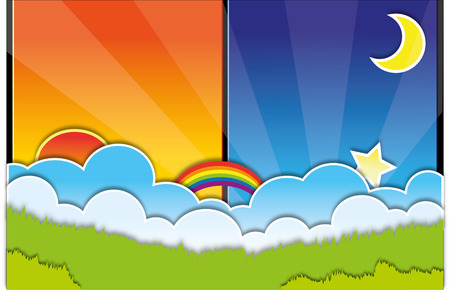 day and night: day and night background vector illustration