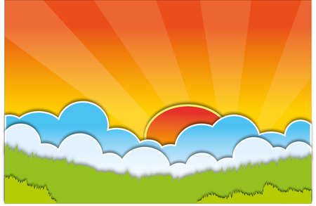 Vector sun with clouds background