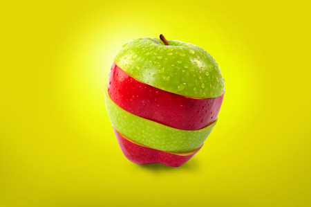 Red and green sliced apple