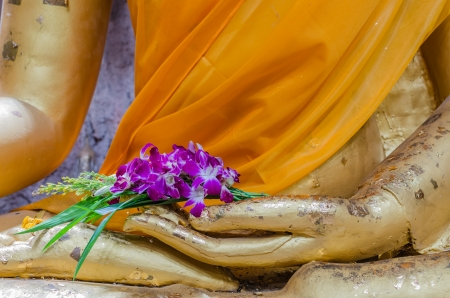Orchid in hand image of buddha