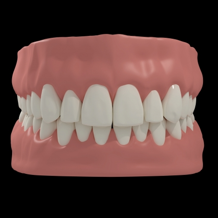 3D teeth on black background Stock Photo - 23260461