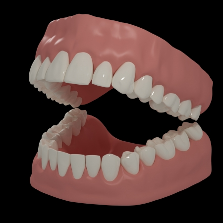 3D teeth on black background Stock Photo - 23260465