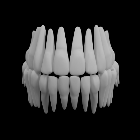 3d human red teeth - front view