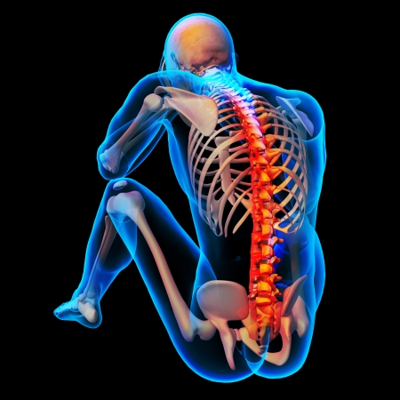 body pain: Skeleton of the man with the backbone Stock Photo