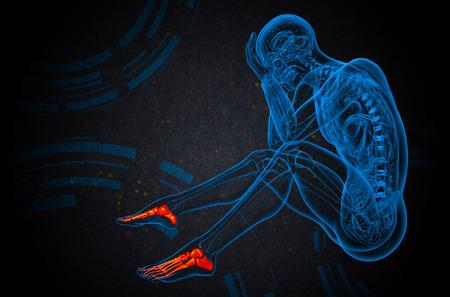 3d bone: 3d render medical illustration of the foot bone - side view