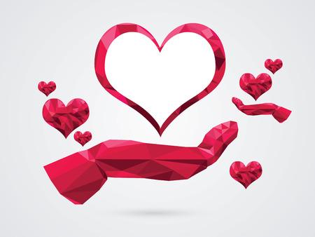 vector illustratie van een hart op de hand