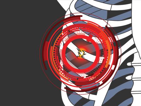 rib cage: vector illustration of broken ribs