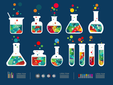 drug discovery: illustration of icon beaker